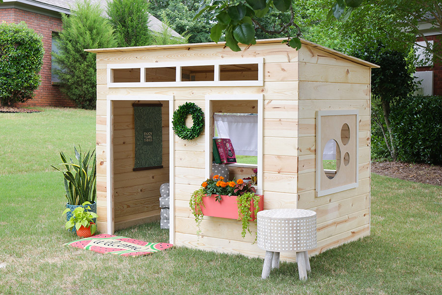 Modern playhouse pine main for Simple outdoor playhouse plans