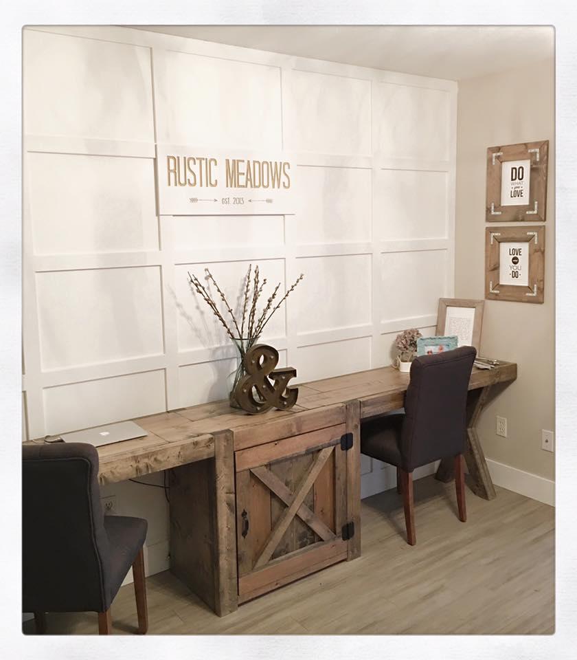 Barn Door Double Desk Pinemain