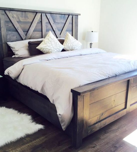 Barn door farmhouse bed pine main for Farmhouse style bed