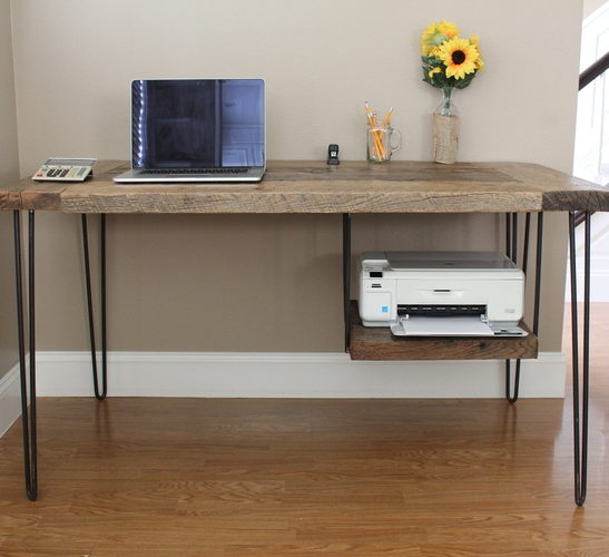 Reclaimed Wood Hairpin Leg Desk With Printer Shelf Pine Main