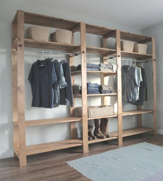 wood closet diy 2×416