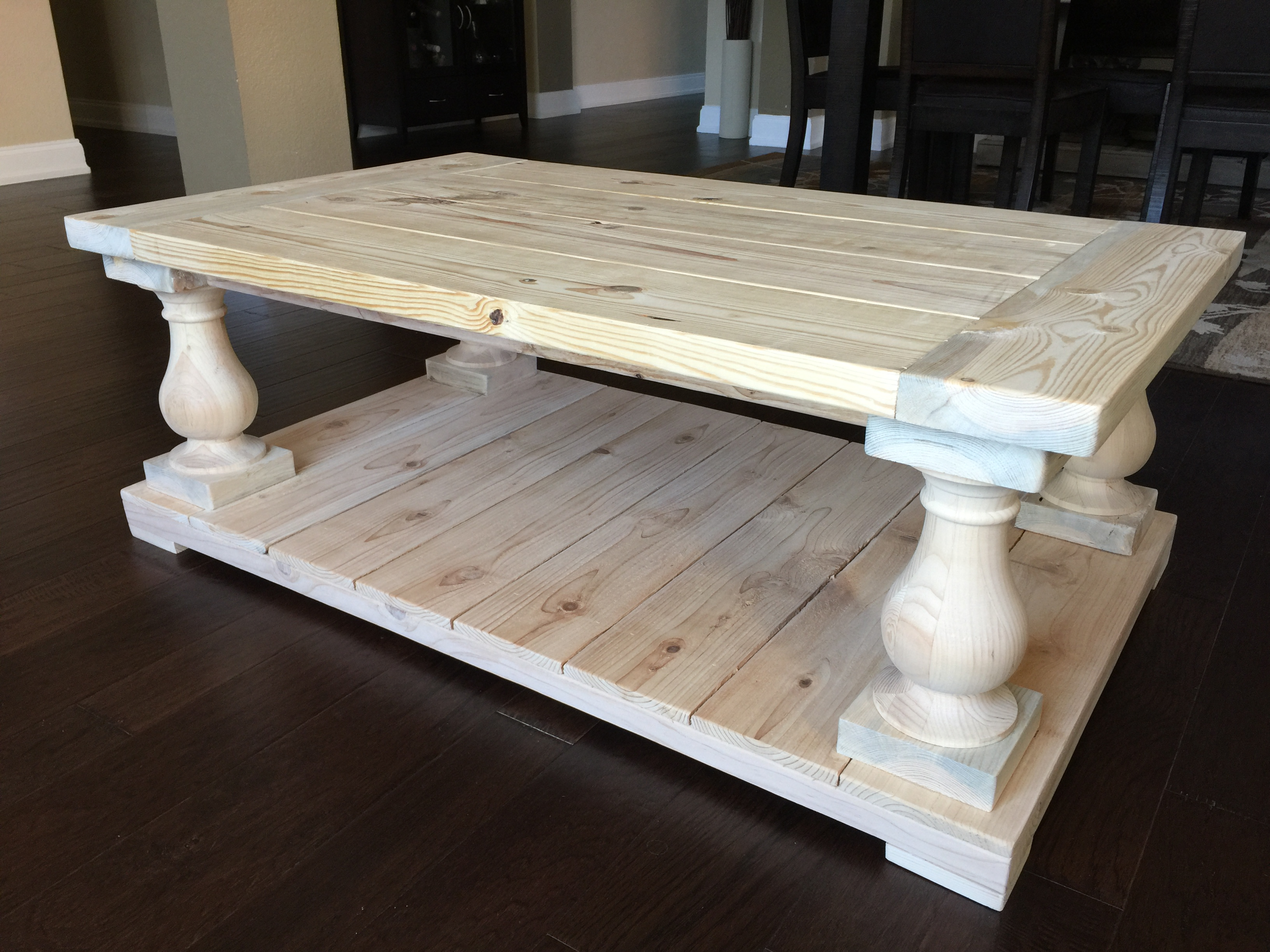Balustrade Wood Coffee Table Pine Main