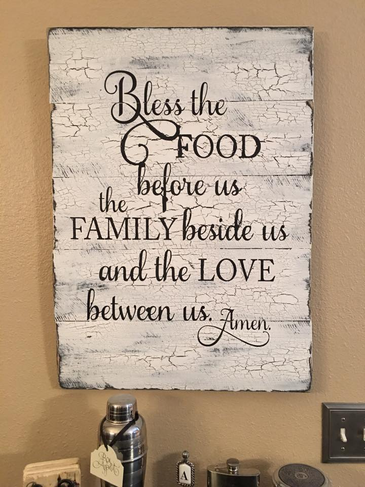 Farmhouse rustic kitchen sign pine main Bless home furniture outlet