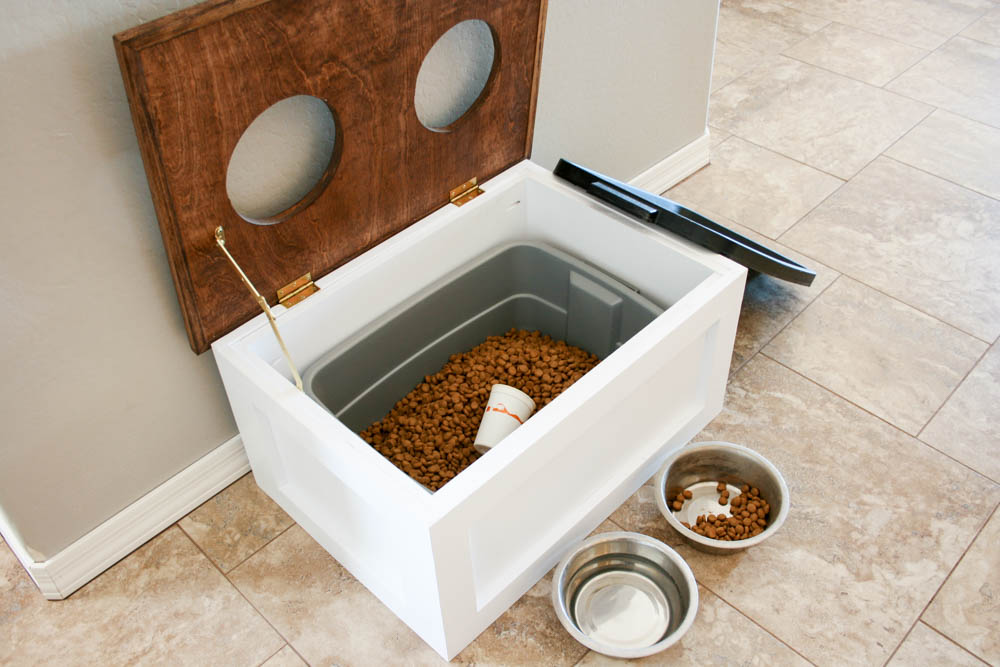 Raised Dog Food Station With Storage Pine Main