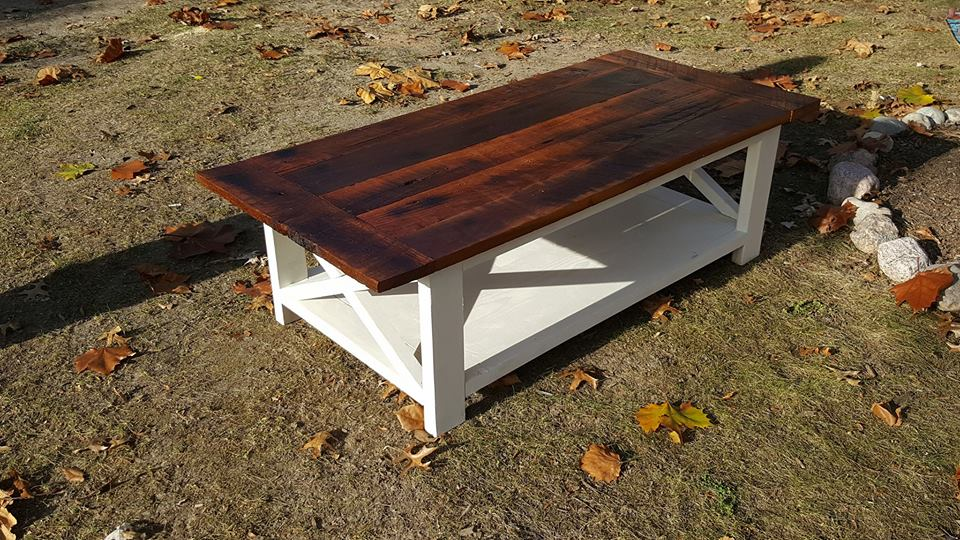 Reclaimed Oak Rustic Coffee Table Pine Main